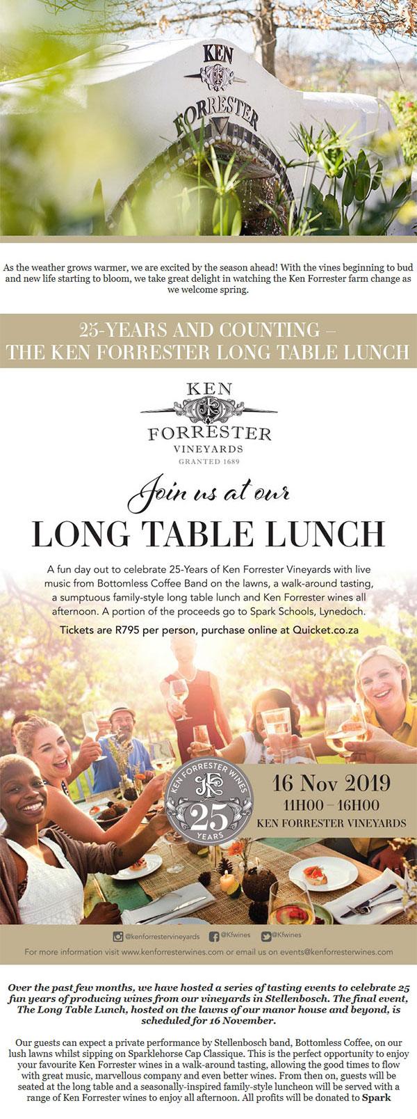 Ken Forrester newsletter